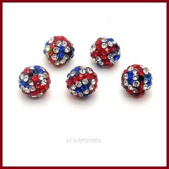 5 Strass-Perlen, Disco balls, rot-blau-weiß, rund, 10 mm, Polymer Clay Bild 1