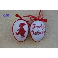 Kreuzstich Osterei Handarbeit gestickt  Oster Motiv   9cm, rot weiß,  Bild 1