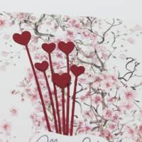 Grußkarte zum Muttertag, Muttertagskarte mit Blüten und Herz-Motiv Bild 2