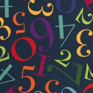 10,90EUR/m Webware Zahlen Schule Kim Baumwolle dunkelblau bunt Bild 3