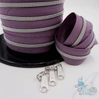1m endlos Reißverschluss  inkl. 3 Zippern - breit metallisiert Mauve - silber Bild 1