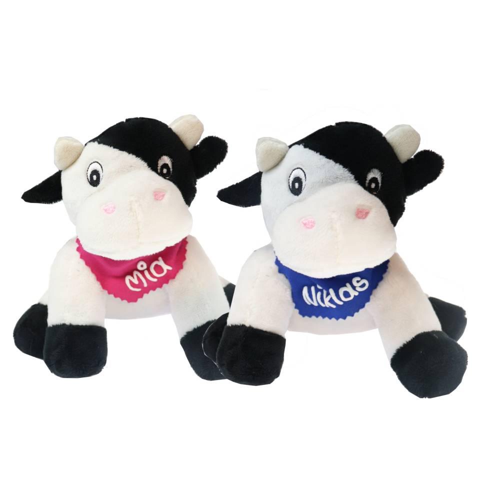 Kuscheltier Kuh schwarz / weiß 16cm mit Namen am Halstuch - Personalisierte Schmusetiere für Jungen und Mädchen  Bild 1