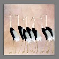 Kraniche - Japanische Kunst - Leinwandbild - Vintage Bilder - Wandbild - Holzschnitt - abstrakt - Großformat Bild 1