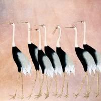 Kraniche - Japanische Kunst - Leinwandbild - Vintage Bilder - Wandbild - Holzschnitt - abstrakt - Großformat Bild 3