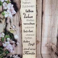 Schild Holz Familie Spruch Deko Geschenk Geburtstag Holzaufsteller Bild 1