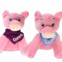 Kuscheltier Schwein rosa 17cm mit Namen am Halstuch - Personalisierte Schmusetiere für Jungen und Mädchen  Bild 1