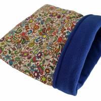 Kuschelbeutel | Blumenmuster | ca. 30cm x 30cm | Fleece: royalblau Bild 1