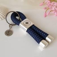 Maritimer Schlüsselanhänger Segeltau / Segelseil mit Schiebeperle (Gravur Kompass) und Edelstahl-Anhänger (Gravur Anker) Bild 1