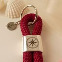Maritimer Schlüsselanhänger Segeltau / Segelseil mit Schiebeperle (Gravur Kompass) und Edelstahl-Anhänger (Gravur Anker) Bild 3