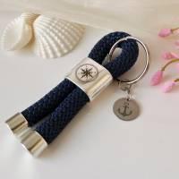 Maritimer Schlüsselanhänger Segeltau / Segelseil mit Schiebeperle (Gravur Kompass) und Edelstahl-Anhänger (Gravur Anker) Bild 4