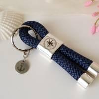 Maritimer Schlüsselanhänger Segeltau / Segelseil mit Schiebeperle (Gravur Kompass) und Edelstahl-Anhänger (Gravur Anker) Bild 5
