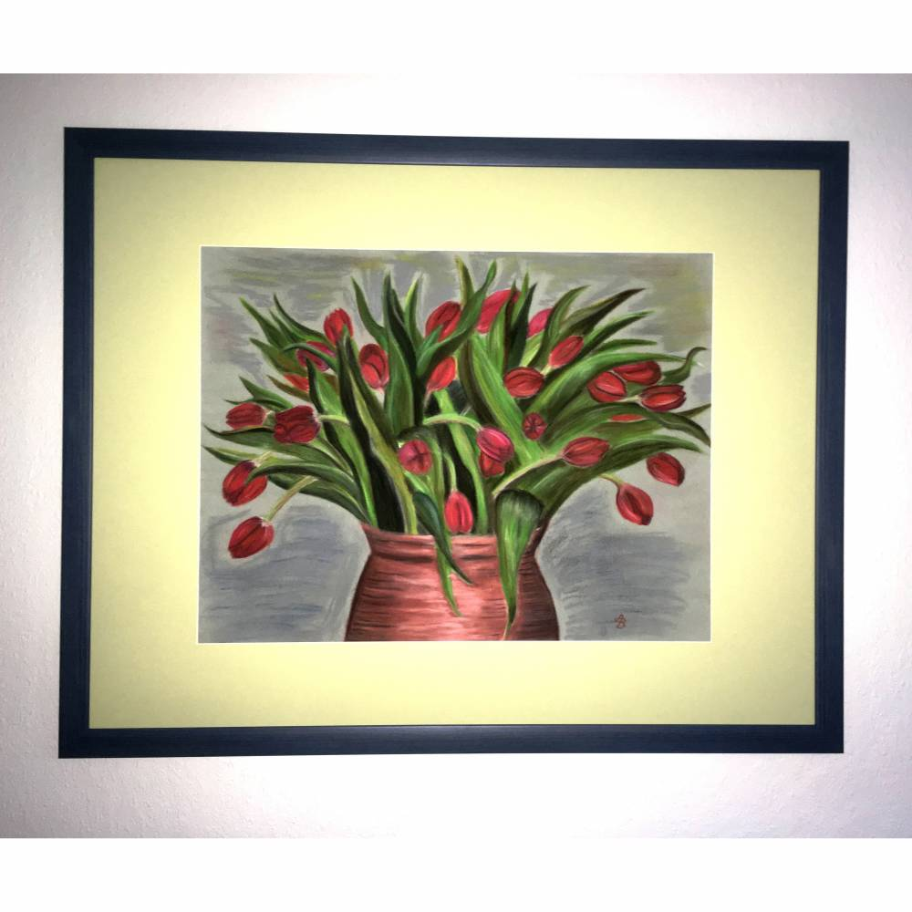 Großes original Pastellkreide - Bild, rote Tulpen in Tonvase, 49 X 64,7    Bild 1