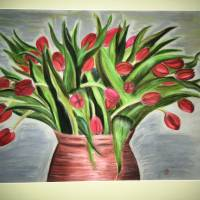 Großes original Pastellkreide - Bild, rote Tulpen in Tonvase, 49 X 64,7    Bild 2