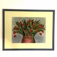 Großes original Pastellkreide - Bild, rote Tulpen in Tonvase, 49 X 64,7    Bild 3