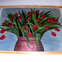 Großes original Pastellkreide - Bild, rote Tulpen in Tonvase, 49 X 64,7    Bild 4
