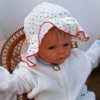 Vintage, Baby Mütze, Sonnenhut weiß mit Punkten,  Bild 1
