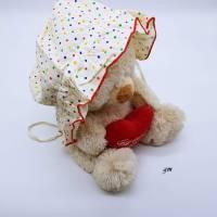 Vintage, Baby Mütze, Sonnenhut weiß mit Punkten,  Bild 2