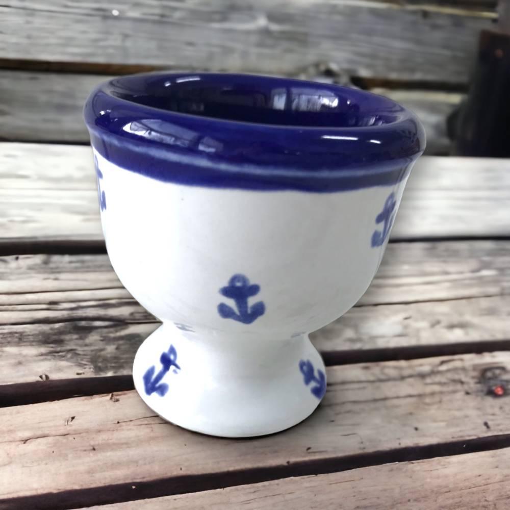 4 Eierbecher, Anker, Keramik handbemalt Bild 1