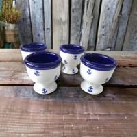 4 Eierbecher, Anker, Keramik handbemalt Bild 2