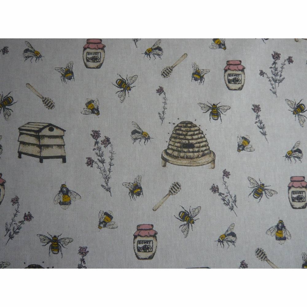 12,60 EUR/m Stoff Canvas / Dekostoff Bienen / Bienenstöcke / Honig / Imkern auf hellbeige Leinenoptik Bild 1