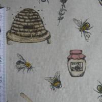 12,60 EUR/m Stoff Canvas / Dekostoff Bienen / Bienenstöcke / Honig / Imkern auf hellbeige Leinenoptik Bild 10