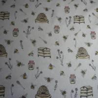 12,60 EUR/m Stoff Canvas / Dekostoff Bienen / Bienenstöcke / Honig / Imkern auf hellbeige Leinenoptik Bild 2