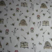 12,60 EUR/m Stoff Canvas / Dekostoff Bienen / Bienenstöcke / Honig / Imkern auf hellbeige Leinenoptik Bild 3