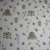 12,60 EUR/m Stoff Canvas / Dekostoff Bienen / Bienenstöcke / Honig / Imkern auf hellbeige Leinenoptik Bild 4