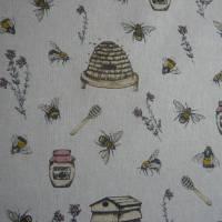12,60 EUR/m Stoff Canvas / Dekostoff Bienen / Bienenstöcke / Honig / Imkern auf hellbeige Leinenoptik Bild 5