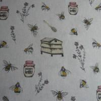 12,60 EUR/m Stoff Canvas / Dekostoff Bienen / Bienenstöcke / Honig / Imkern auf hellbeige Leinenoptik Bild 6