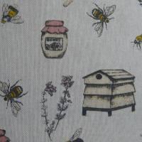 12,60 EUR/m Stoff Canvas / Dekostoff Bienen / Bienenstöcke / Honig / Imkern auf hellbeige Leinenoptik Bild 7