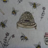 12,60 EUR/m Stoff Canvas / Dekostoff Bienen / Bienenstöcke / Honig / Imkern auf hellbeige Leinenoptik Bild 8
