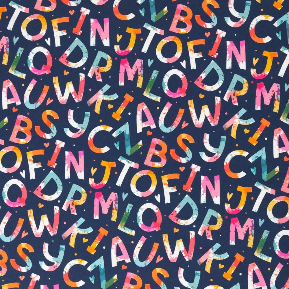 10,90EUR/m Webware Buchstaben Schule Kim Baumwolle dunkelblau bunt Bild 1