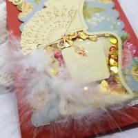Schüttelkarte Flacon mit Fächer und Federn für die Damen, innen mit Geldfach  Bild 6
