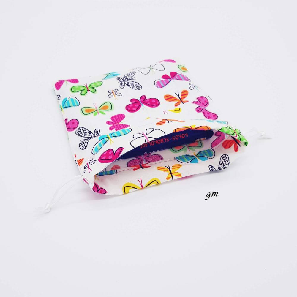 Geschenkbeutel, quadratischer Geschenkebeutel mit Schmetterlingen Frühling, Ostern, 16x18 cm Bild 1
