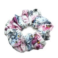 1 Haargummi Scrunchie *Rosa Rosen* Haarschmuck genäht aus Baumwollstoff Bild 1