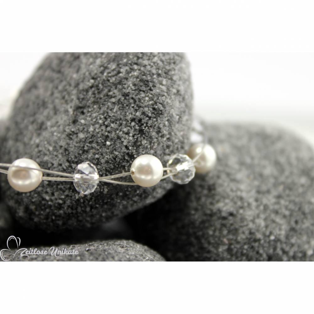 Brautschmuck - Die Schöne, Brautarmband mit kristallklaren Perlen sowie weiße o.  cremefarbene Perlen Bild 1