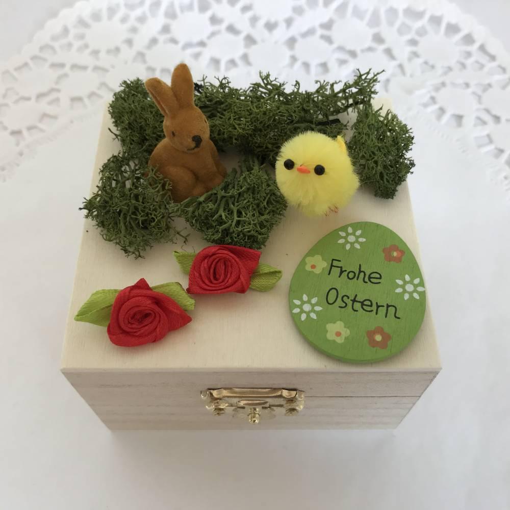 Geldgeschenk Ostern originell verpacken Osterhase Osterei Küken Frohe Ostern Ostergeschenk Holz-Box Bild 1