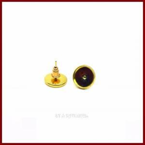 3 Paar Ohrstecker  mit Fassung für Cabochons 10mm vergoldet Bild 1