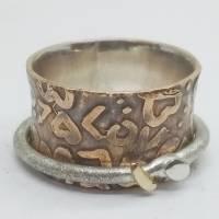 Spielring - Drehrring Ring aus Sterlingsilber Messing, mit 585 Gold  Bild 1