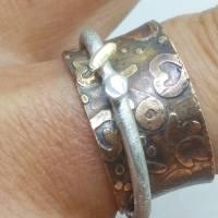 Spielring - Drehrring Ring aus Sterlingsilber Messing, mit 585 Gold  Bild 2