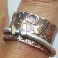 Spielring - Drehrring Ring aus Sterlingsilber Messing, mit 585 Gold  Bild 4