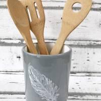 Utensilo, Vase, Kochlöffelbehälter , Feder Design, Keramik handbemalt Bild 1