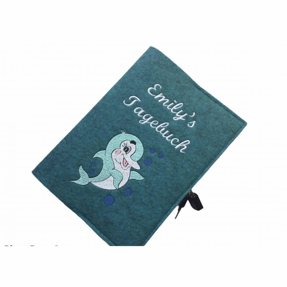 Personalisiertes Tagebuch aus Filz mit Schloß ,,Delfin,, Bild 1