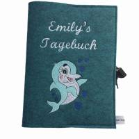 Personalisiertes Tagebuch aus Filz mit Schloß ,,Delfin,, Bild 2