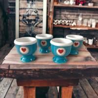 4 Eierbecher mit Herzen , Keramik handbemalt Bild 2