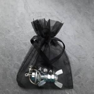 Personalisierter Schlüsselanhänger Schraubenmännchen Ostern Geburtstag Geschenk schwarz silber galv. verzinkt Name Wort  Bild 3