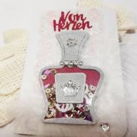 """Schüttelkarte Flacon in pink und silber """"Von Herzen """" für die Damen, innen mit Geldfach  Bild 1"""