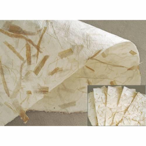 5 Blatt handgeschöpftes Papier mit Maisfasern, ca. 21 cm x 29,5 cm, Büttenpapier, Faserpapier, Bastelpapier