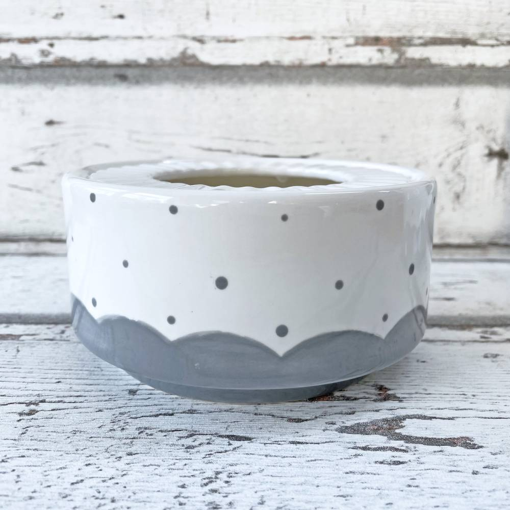 Stövchen, grau gepunktet, passend zur tanzenden Kanne, Keramik handbemalt Bild 1